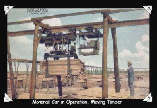 Monorail Car in Operation, Moving Timber